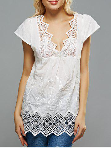 Shops Crochet Spliced Openwork Embroidered Blouse