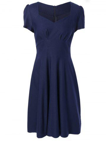 High Waist Short Sleeves Shirred Swing Dress - Purplish Blue - M