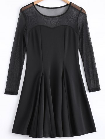 Trendy Black Mesh Spliced Long Sleeves Dress