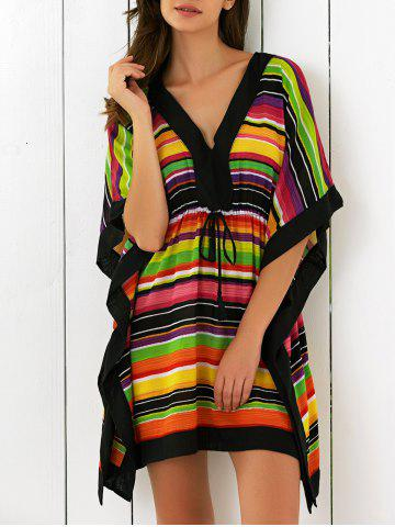 Chic Butterfly Sleeves High Waist Striped Dress COLORFUL L
