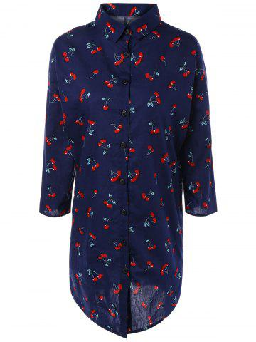 Store Cherry Print Loose-Fitting Shirt Dress
