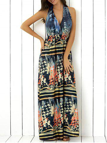 Trendy Halter Backless  Printed Maxi Dress