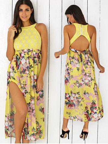 Cheap Floral Print Side Slit Cut Out Maxi Dress