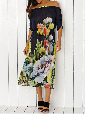 Cheap Off-The-Shoulder Floral Print Chiffon Dress