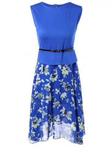 Trendy Sleeveless Spliced Floral Print Chiffon Peplum Dress BLUE M