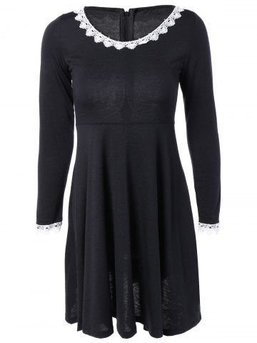 New Crochet-Trim High Waist Flare Dress