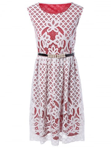 Buy Crochet Openwork Sleeveless Lace Dress