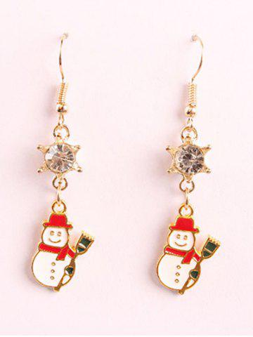 Affordable Shiny Rhinestone Snowman Embellished Drop Earrings