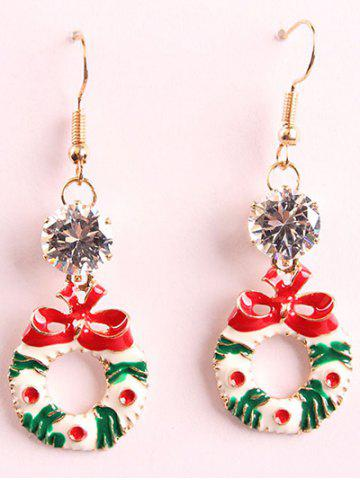 Unique Artificial Crystal Christmas Bowknot Wreath Drop Earrings