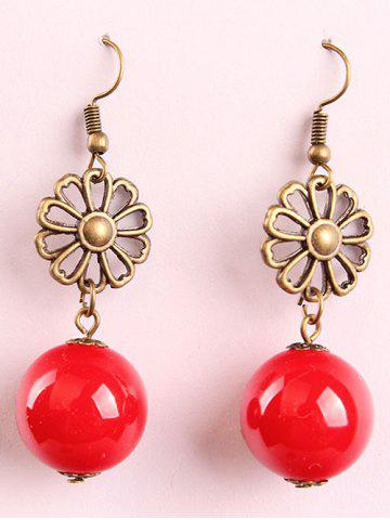 New Waterdrop Faux Pearl Hollowed Flower Drop Earrings