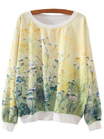 Sale Ocean Of Flowers Print Loose Sweatshirt