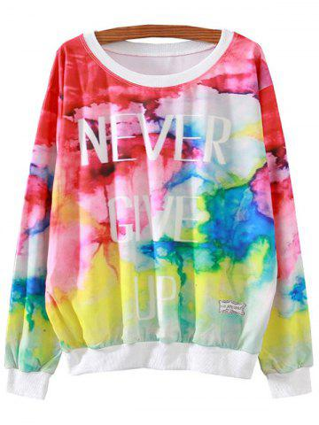 Unique Letter Colorful Print Loose Sweatshirt