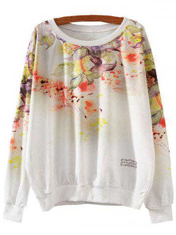 Sale Flower Print Loose Sweatshirt WHITE L