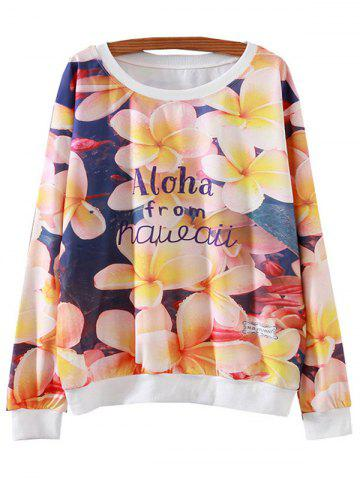 Buy Plumeria Rubra Flower Print Loose Sweatshirt