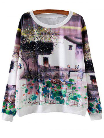 Affordable Ink Painting Lily Loose Sweatshirt
