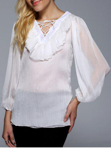 Hot Flounce Ruffles Lace-Up See-Through Blouse