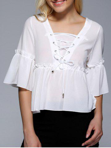 Best Flare Sleeve Flounce Ruffles Lace-Up Blouse