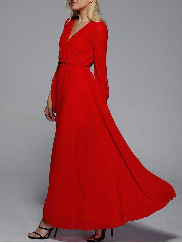 Cheap Maxi V Neck Flare Long Sleeve Prom Evening Dress RED XL