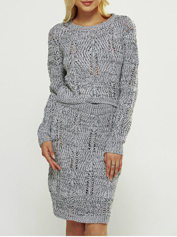 Fashion Cut Out High Waist Sweater Two Piece Dress GRAY ONE SIZE