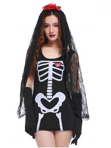 Best Skeleton Print Mini Bodycon Hallowmas Cosplay Costume