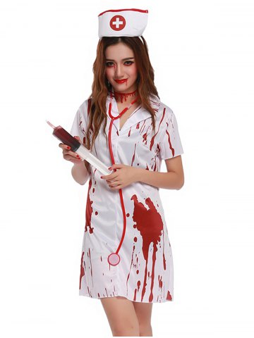Outfit Blood Print Short Sleeve Mini Cosplay Costume