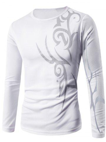 Latest Round Neck Long Sleeve Abstract Pattern T-Shirt WHITE XL