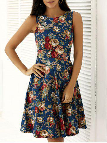 Best Flower Print Sleeveless Fit and Flare Dress