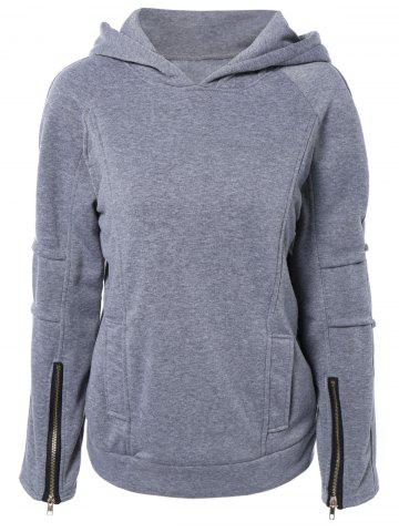 New Pullover Hoodie with Zip Design GRAY 2XL
