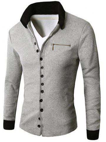 Fancy Zipper Embellished Button Up Cardigan