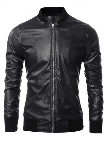 Buy Zippered Rib Splicing Stand Collar Long Sleeves PU Leather Jacket BLACK 3XL