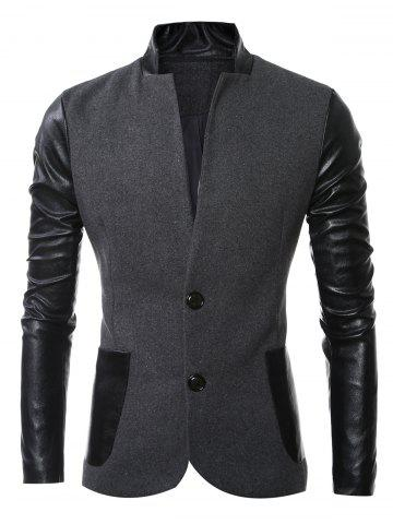 Outfit Stand Collar Long Sleeves Slit Back Leather Spliced Woolen Jacket DEEP GRAY 3XL