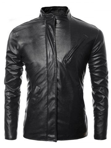 Shop Side Zip Up Long Sleeves Faux Leather Jacket BLACK 3XL
