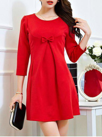Fancy Lace Long Sleeve Plus Size Mini Dress RED 2XL