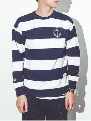 Trendy Round Neck Stripe Print Anchor Embroidery Long Sleeve Sweatshirt