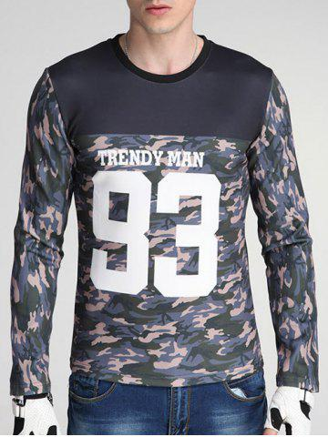 Best Camouflage and Letter Print Spliced Design Round Neck Long Sleeve Sweatshirt COLORMIX 3XL