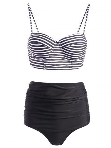 Sale Stripe Spaghetti Strap Push-Up Swimsuit with High Waisted Bottom BLACK XL