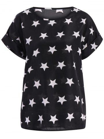 Shop Stars Pattern Plus Size Scoop Neck Blouse