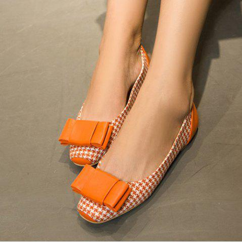 Store Weaving Bow PU Splice Flat Shoes - 37 ORANGE Mobile