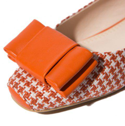 Chic Weaving Bow PU Splice Flat Shoes - 37 ORANGE Mobile
