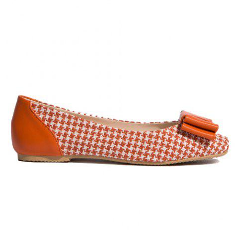 Chic Weaving Bow PU Splice Flat Shoes - 38 ORANGE Mobile