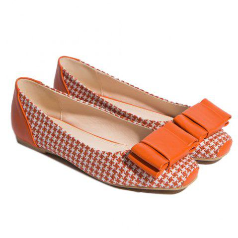 Outfit Weaving Bow PU Splice Flat Shoes - 38 ORANGE Mobile