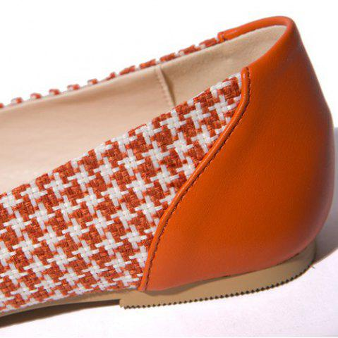 Affordable Weaving Bow PU Splice Flat Shoes - 38 ORANGE Mobile