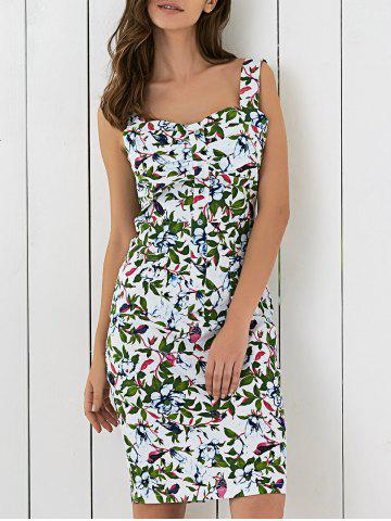 Fashion Floral Printed Sleeveless Button Up Sheath Dress GREEN 2XL