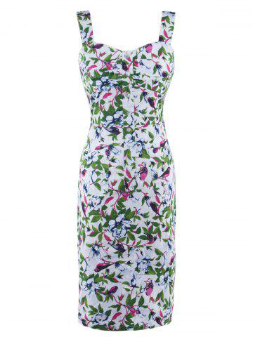 Buy Button Up Floral Print Tea Length Bodycon Dress
