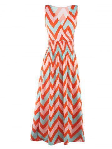 Outfits Bohemian Plunge Neck Sleeveless Zig Zag Dress