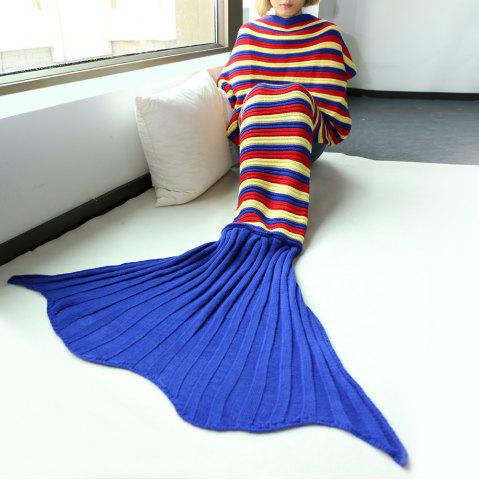 Bonne qualité Stripe confortable Knitting Sofa Mermaid Blanket Multicolore