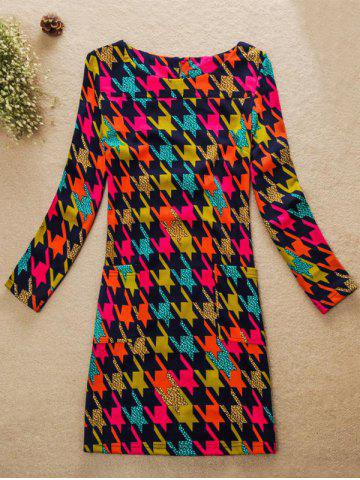Outfits Colorful Houndstooth Jewel Neck Dress COLORMIX 4XL