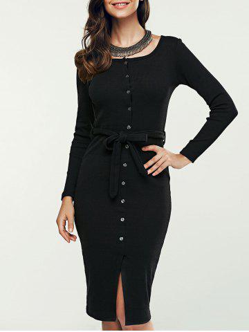 Unique Single-Breasted Long Sleeve Sheath Sweater Dress