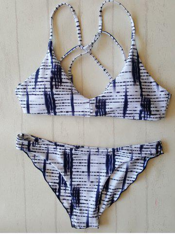 New Print Strappy Bathing Suit WHITE/BLACK L