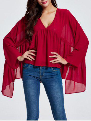 Sale Asymmetric Ruched Smock Blouse